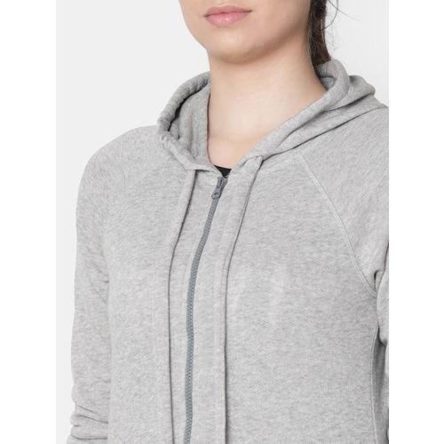 Rute Women Grey Solid Hooded Sweatshirt