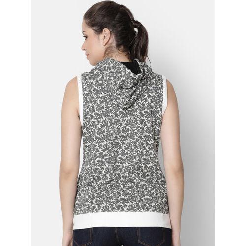 Rute Women Grey & White Printed Hooded Front-Open Sweatshirt