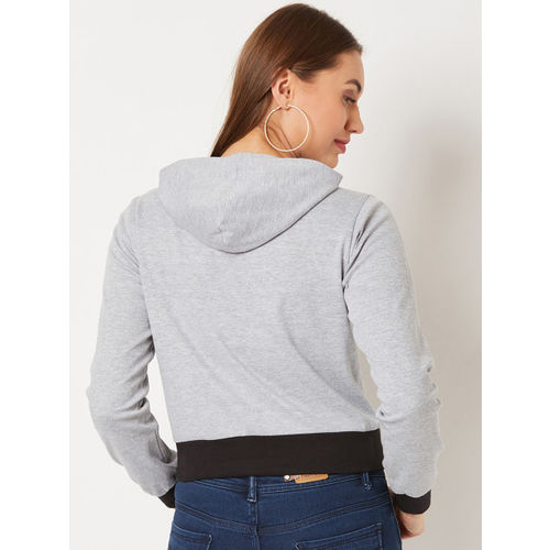 Miss Chase Women Grey Solid Hooded Sweatshirt