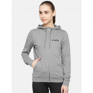 Puma Women Grey Solid Graphic Fz Hoody Sweatshirt
