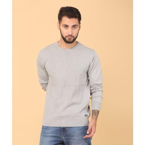 Indian Terrain Self Design Round Neck Casual Men Grey Sweater
