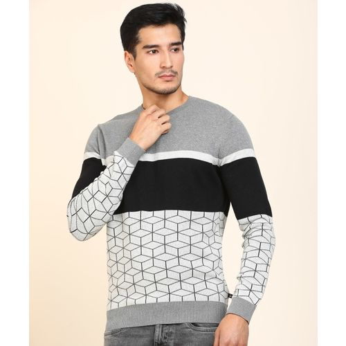 United Colors of Benetton Printed Round Neck Casual Men Black, Grey Sweater