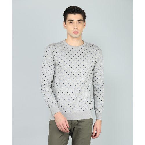 Indian Terrain Printed Round Neck Casual Men Grey Sweater