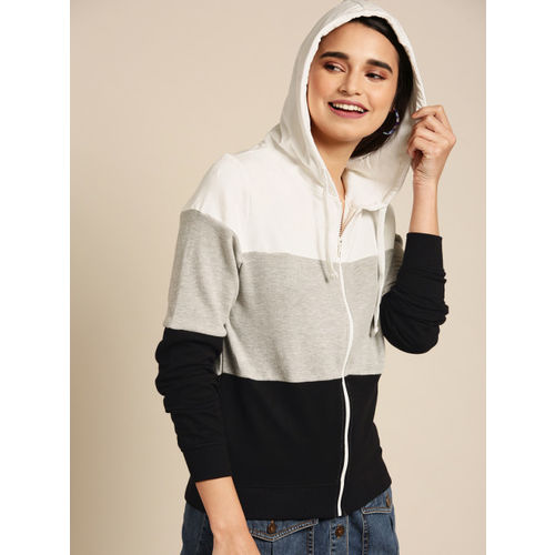 DressBerry Women White & Grey Melange Colourblocked Hooded Sweatshirt