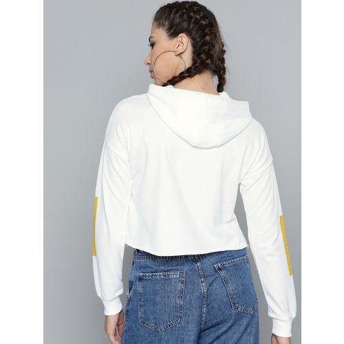 Kook N Keech Garfield Women White & Black Printed Cropped Hooded Sweatshirt