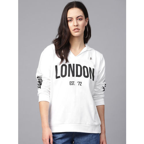 French Connection Women White & Black Printed Hooded Sweatshirt