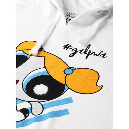 Powerpuff Girls by Kook N Keech Women White Printed Hooded Sweatshirt
