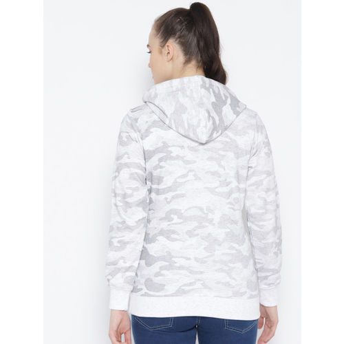 Duke Women White & Grey Camouflage Print Hooded Sweatshirt