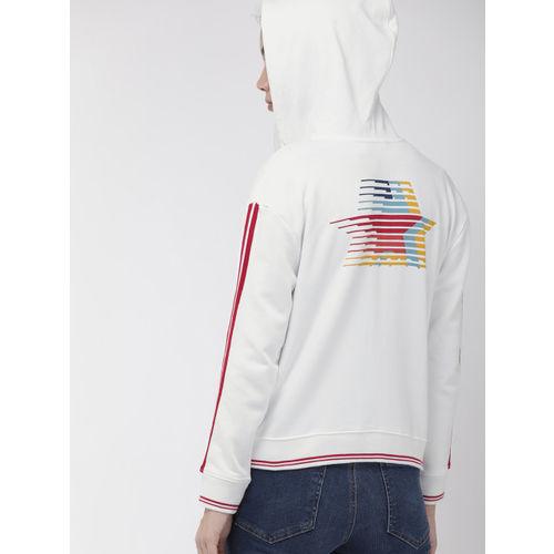 Levis Women White Solid Hooded Sweatshirt