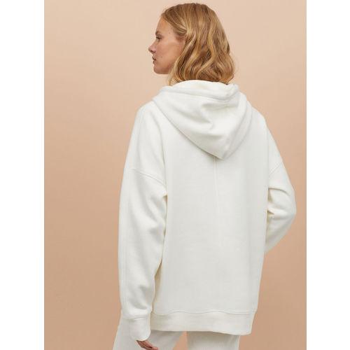 H&M Women White Solid Oversized Hooded Sweatshirt