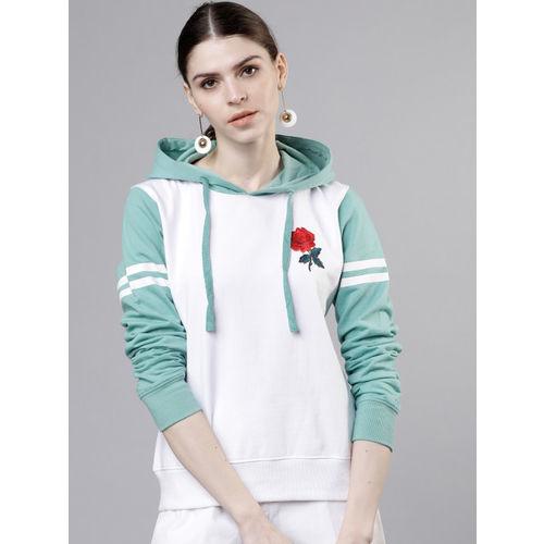 Tokyo Talkies Women White & Green Solid Hooded Sweatshirt