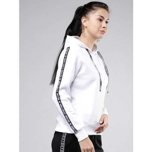 Tokyo Talkies Women White & Black Printed Hooded Sweatshirt