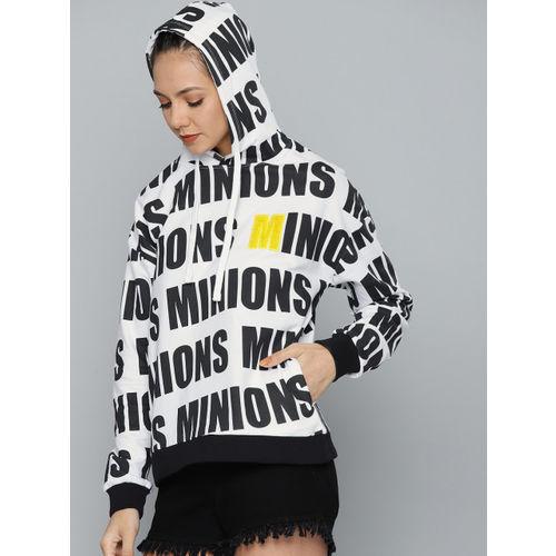 Minions by Kook N Keech Women White & Black Printed Hooded Sweatshirt
