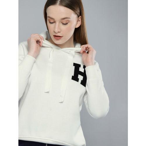 Harvard Women White Printed Hooded Sweatshirt