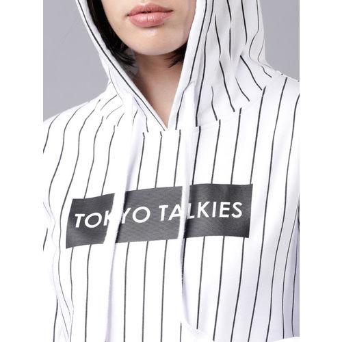 Tokyo Talkies Women White & Black Striped Hooded Pullover Sweatshirt