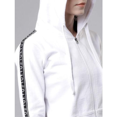 Tokyo Talkies Women White Solid Hooded Sweatshirt