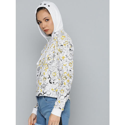 Minions by Kook N Keech Women White Printed Hooded Sweatshirt