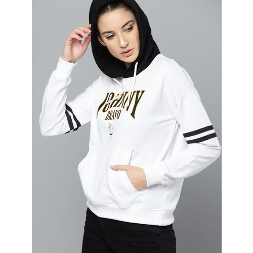 Johnny Bravo by Kook N Keech Women White & Black Printed Hooded Sweatshirt