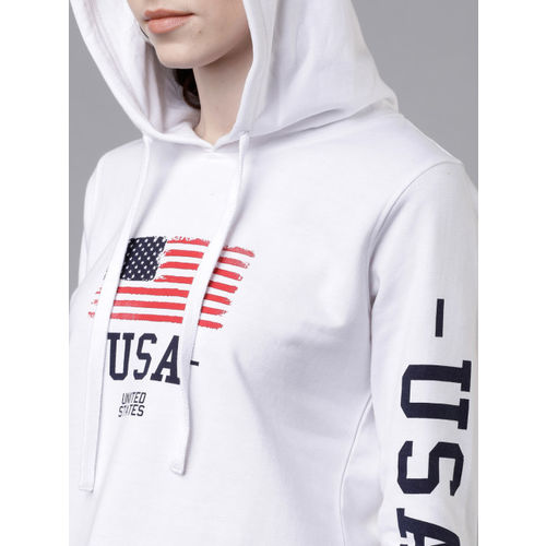 Tokyo Talkies Women White & Black Printed Hooded Sweatshirt