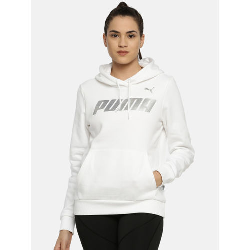 Puma Women White Printed Modern Sport FL Hooded Sweatshirt