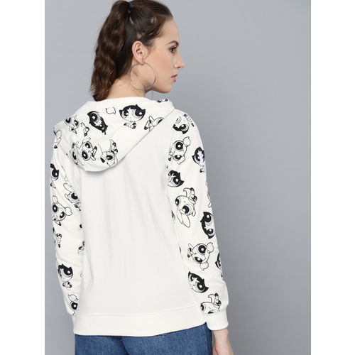 Powerpuff Girls by Kook N Keech Women White & Black Printed Detail Hooded Sweatshirt