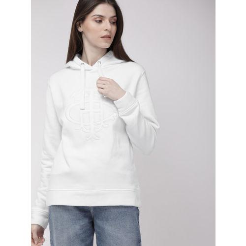 Tommy Hilfiger Women White Self-Design Hooded Sweatshirt
