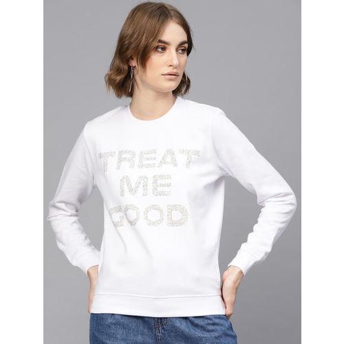 SASSAFRAS Women White & Golden Embellished Sweatshirt