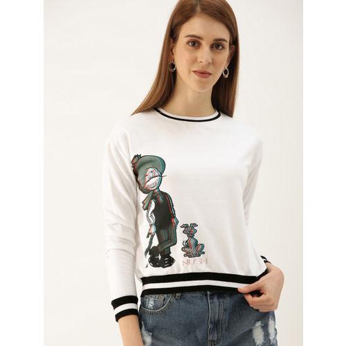 NUSH Women White Printed Sweatshirt