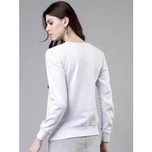 Tokyo Talkies Women White Printed Sweatshirt