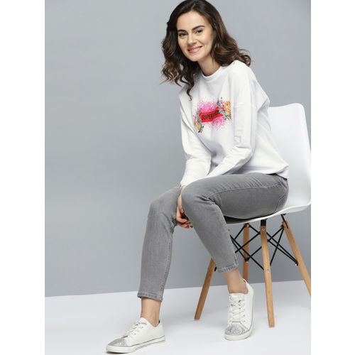 Mast & Harbour Women White & Pink Printed Sweatshirt