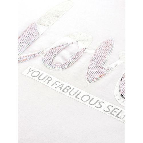 Mast & Harbour Women White Printed & Sequinned Sweatshirt