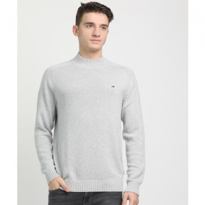 Tommy Hilfiger Woven Crew Neck Casual Men Grey Sweater
