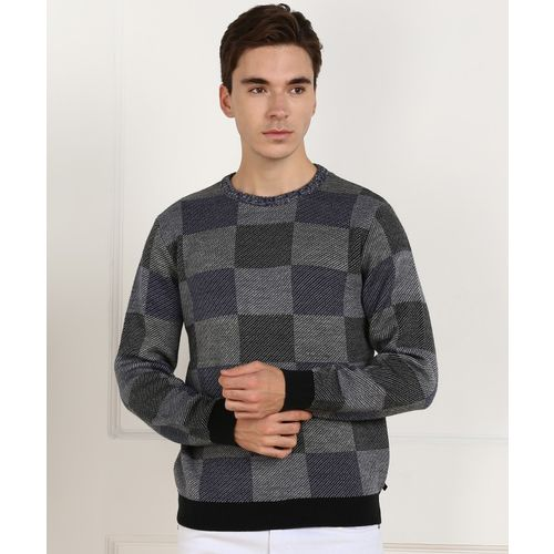 United Colors of Benetton Checkered Round Neck Casual Men Grey Sweater