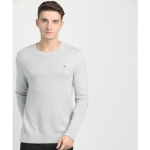 Tommy Hilfiger Woven Cowl Neck Casual Men Grey Sweater