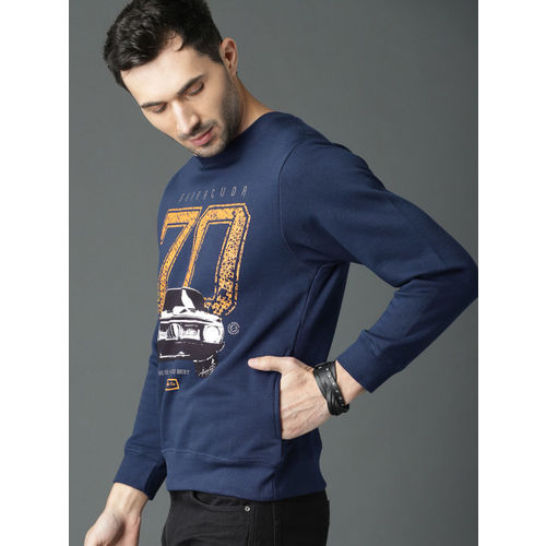 Roadster Fast and Furious Men Navy Blue Printed Sweatshirt