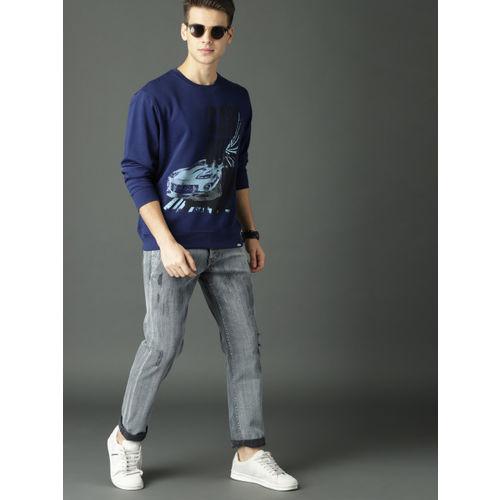 Roadster Fast and Furious Men Navy Blue Printed Sweatshirt