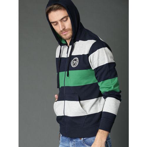 Roadster Men Navy Blue & Grey Melange Striped Hooded Sweatshirt