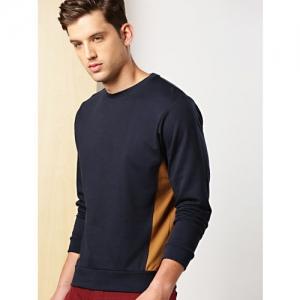 INVICTUS Men Navy Blue & Mustard Yellow Colourblocked Sweatshirt