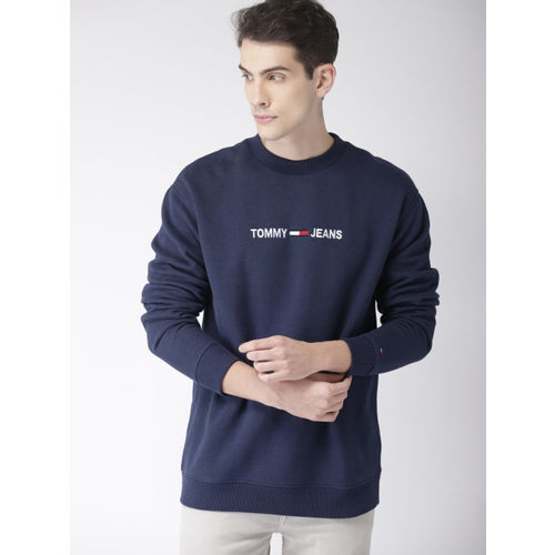 Tommy Hilfiger Men Navy Blue Self-Design Sweatshirt
