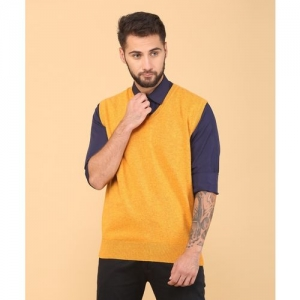Indian Terrain Solid V-neck Casual Men Yellow Sweater