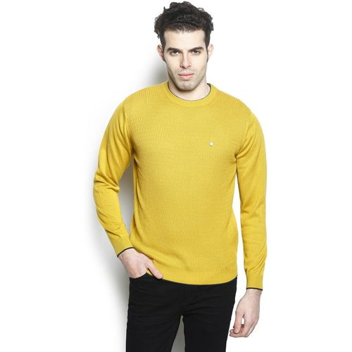Blackberrys Self Design Round Neck Casual Men Yellow Sweater