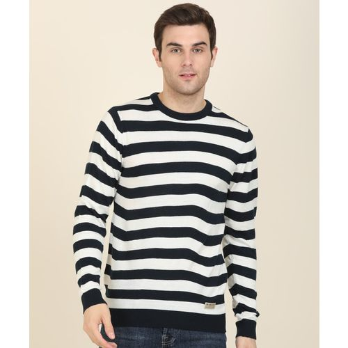Peter England University Striped Round Neck Casual Men White, Blue Sweater