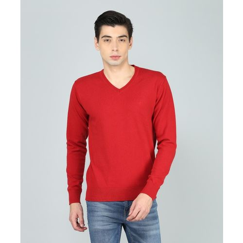 Indian Terrain Solid V-neck Casual Men Red Sweater