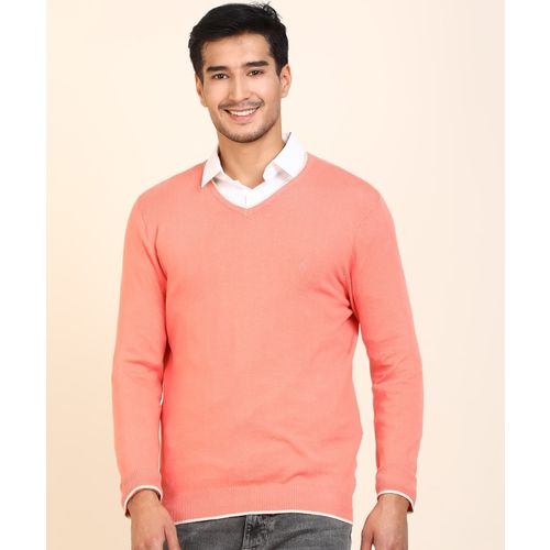 United Colors of Benetton Self Design V Neck Casual Men Pink Sweater