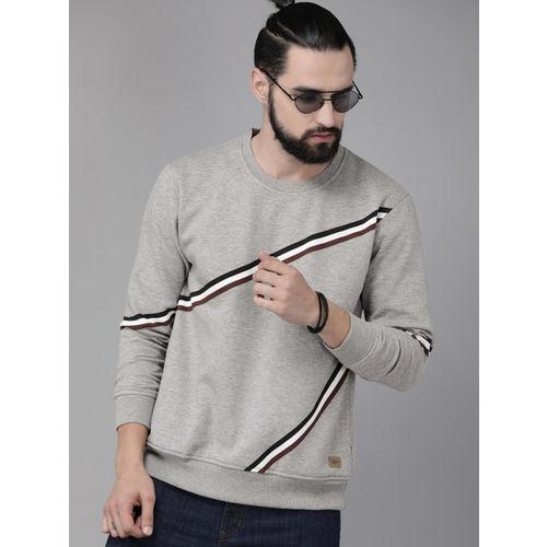 Roadster Men Grey & White Striped Sweatshirt