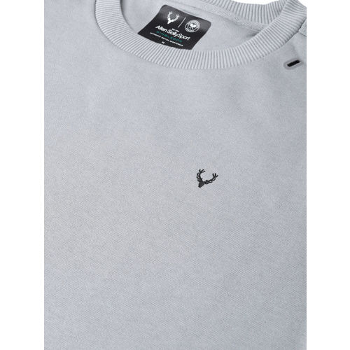 Allen Solly Sport Men Grey Solid Tennis Sweatshirt