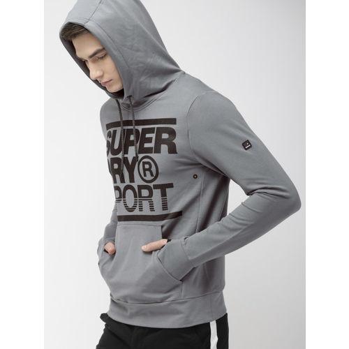 Superdry Men Grey Printed Hooded Sweatshirt