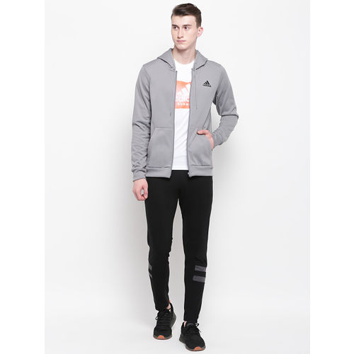 ADIDAS Men Grey Basketball SPT Full-Zip Hooded Sweatshirt