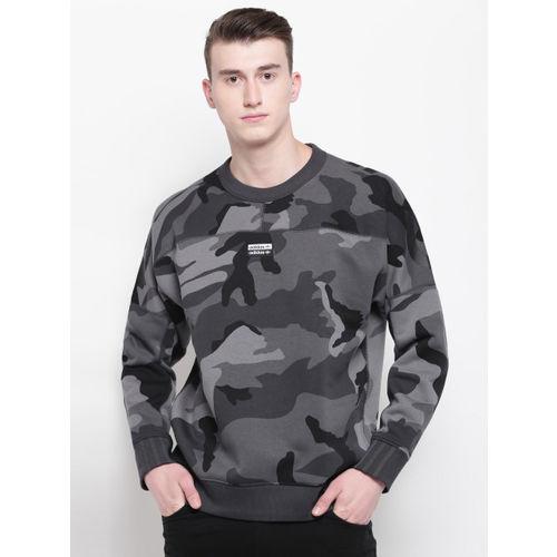 ADIDAS Originals Men Grey Camouflage Print R.Y.V. Crewneck Sweatshirt