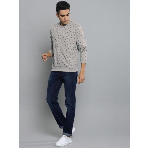 Louis Philippe Jeans Men Grey & Teal Blue Printed Pullover Sweatshirt